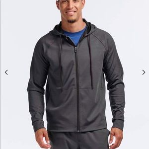 Men's full zip hoodie RHONE heather black